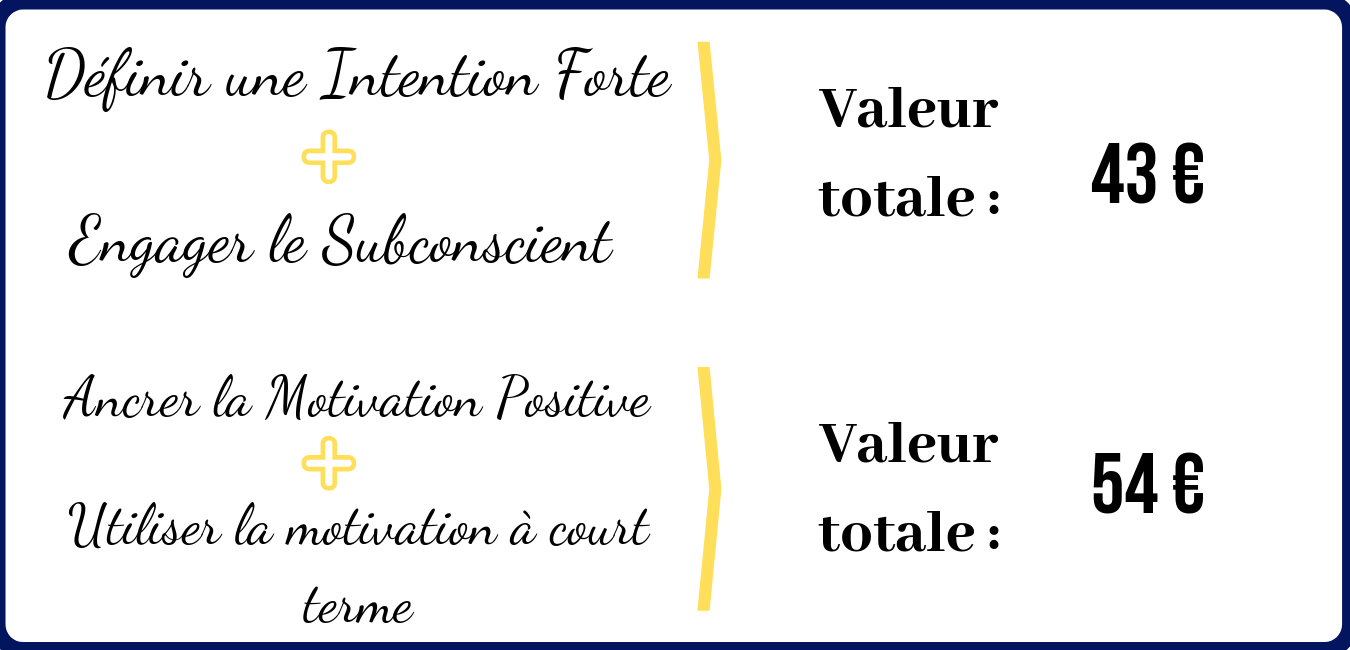 Définir une Intention Forte + Engager le Subconscient = 43 euros Ancrer la Motivation Positive + Utiliser la motivation à court terme = 54 euros