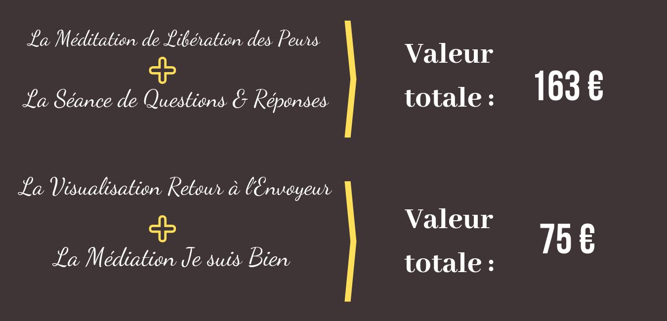 Valeurs : La méditation de Libération des Peurs, La séance de Questions et Réponses, la Visualisation de retour à l´envoyeur, la méditation Je suis Bien