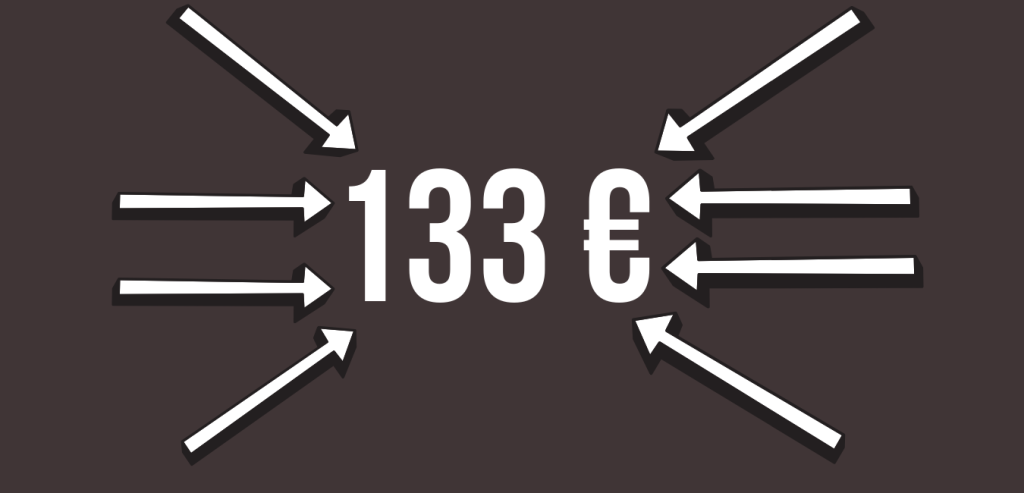 133 euros prix fléché