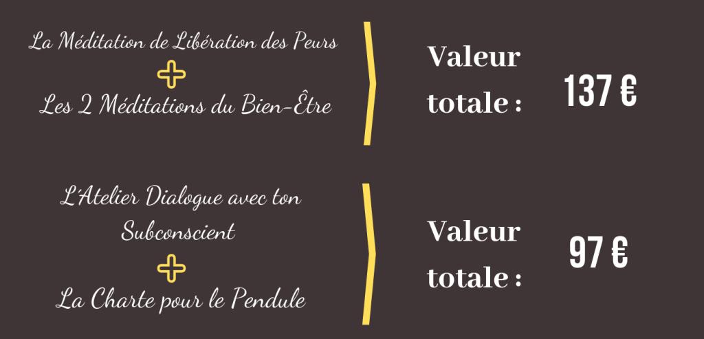 La Méditation de Libération des Peurs + Les 2 Méditations du Bien-Être = 137 euros - L´Atelier dialogue avec ton Subconscient + La Charte pour le Pendule = 97 euros